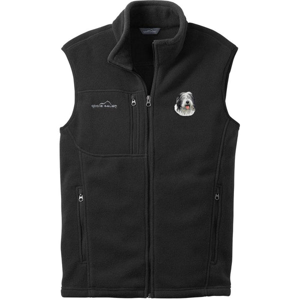 Embroidered Mens Fleece Vests Black 3X Large Old English Sheepdog D40
