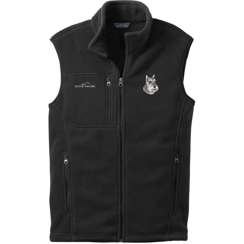 Embroidered Mens Fleece Vests Black 3X Large Schnauzer D133