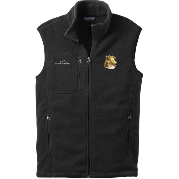 Embroidered Mens Fleece Vests Black 3X Large Shetland Sheepdog D84