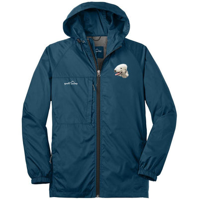 Bedlington Terrier Embroidered Mens Eddie Bauer Packable Wind Jacket