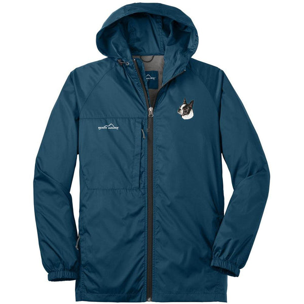 Embroidered Mens Eddie Bauer Packable Wind Jacket Brilliant Blue 3X-Large Boston Terrier D50
