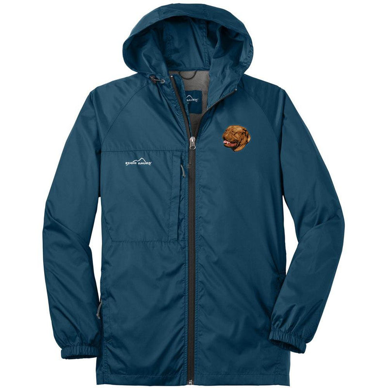 Embroidered Mens Eddie Bauer Packable Wind Jacket Brilliant Blue 3X-Large Dogue de Bordeaux D39