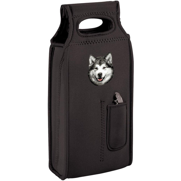 Embroidered Samba Wine Totes Black  Alaskan Malamute D33