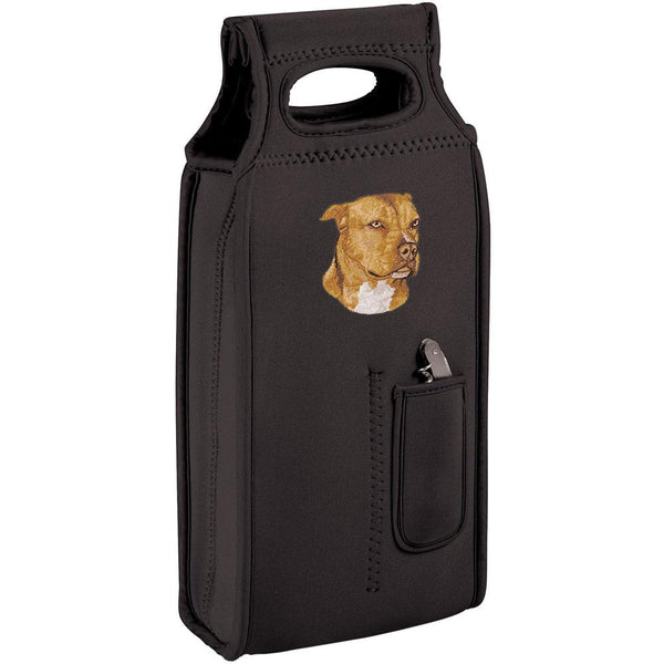 Embroidered Samba Wine Totes Black  American Staffordshire Terrier DN334