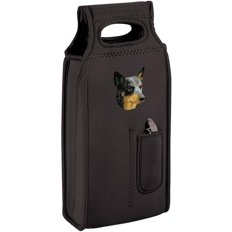 Embroidered Samba Wine Totes Black  Australian Cattle Dog D99