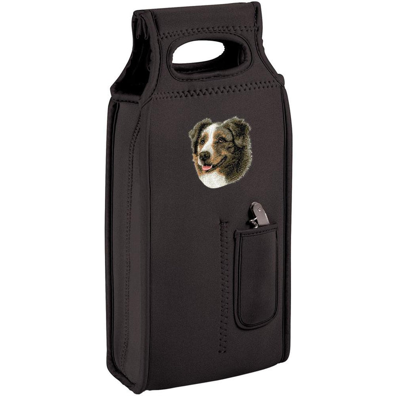 Embroidered Samba Wine Totes Black  Australian Shepherd D41