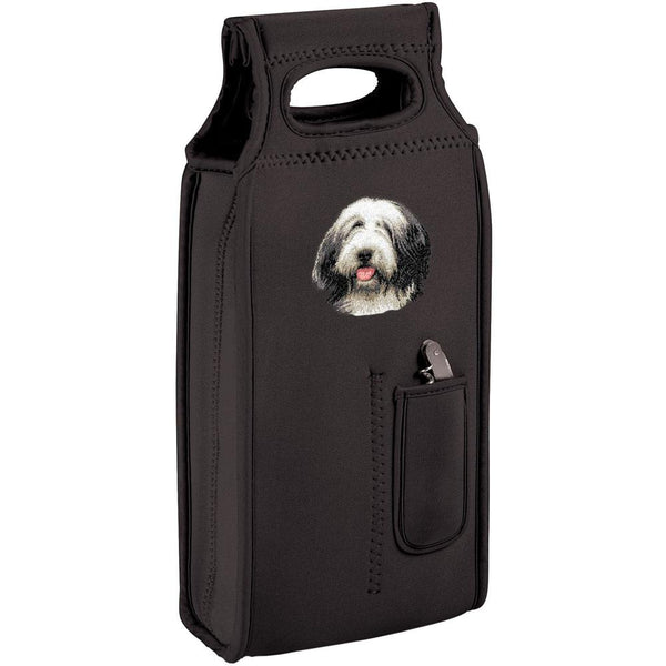 Embroidered Samba Wine Totes Black  Bearded Collie D37