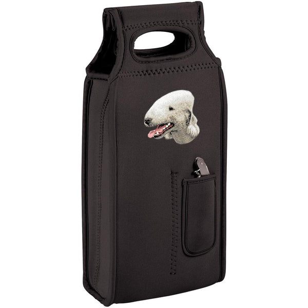 Embroidered Samba Wine Totes Black  Bedlington Terrier D35