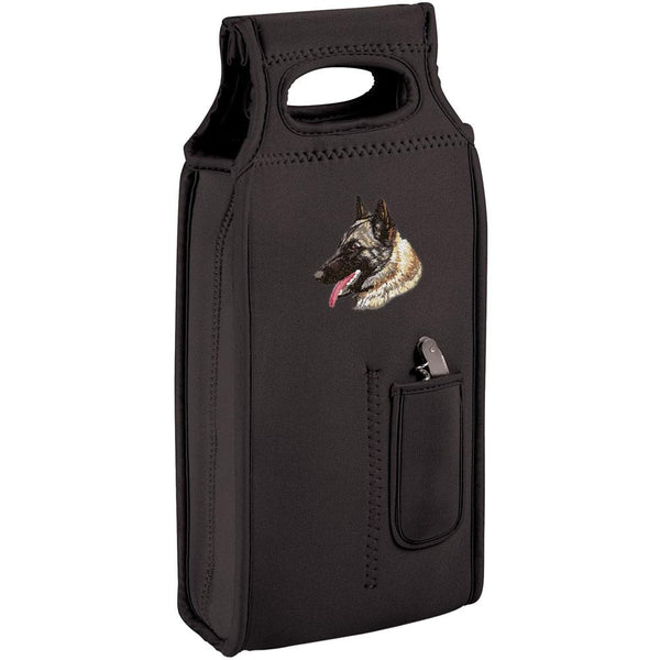 Embroidered Samba Wine Totes Black  Belgian Sheepdog DN338