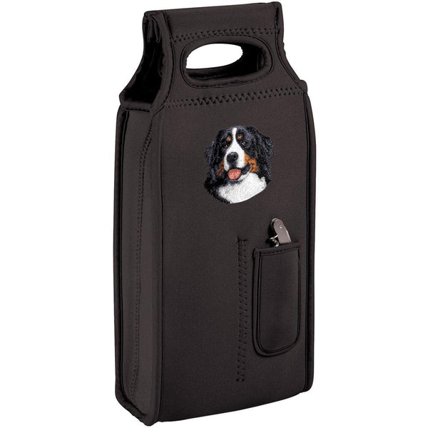 Embroidered Samba Wine Totes Black  Bernese Mountain Dog D13