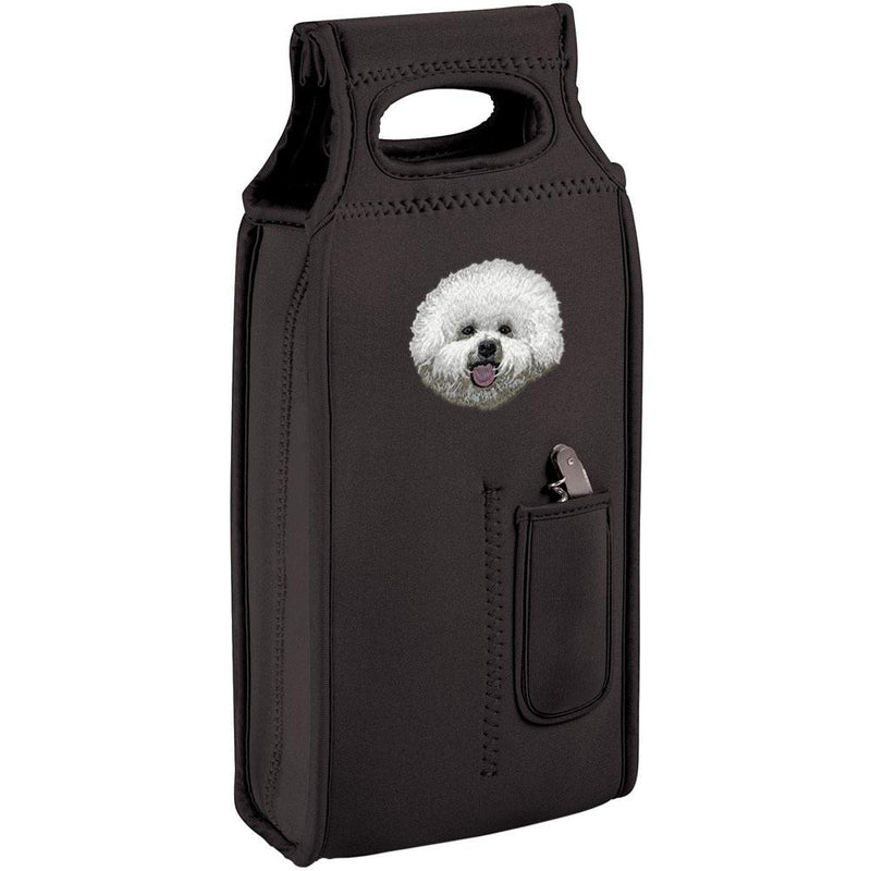 Embroidered Samba Wine Totes Black  Bichon Frise D38