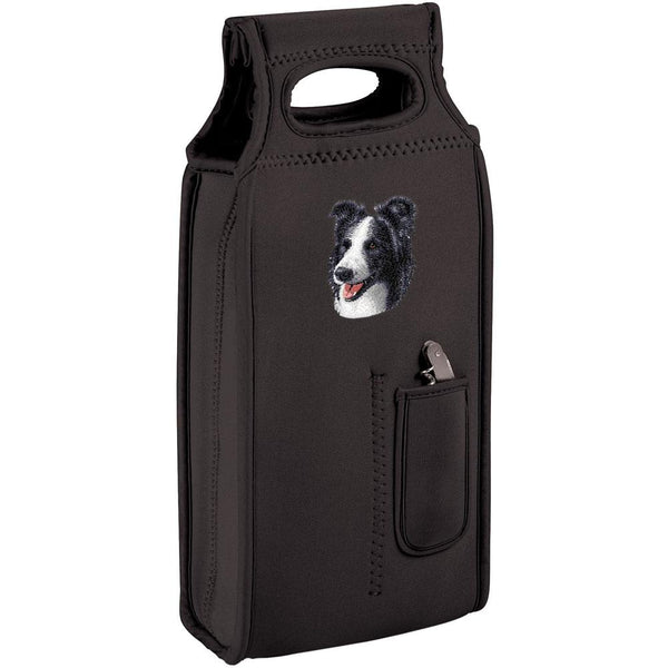 Embroidered Samba Wine Totes Black  Border Collie D16