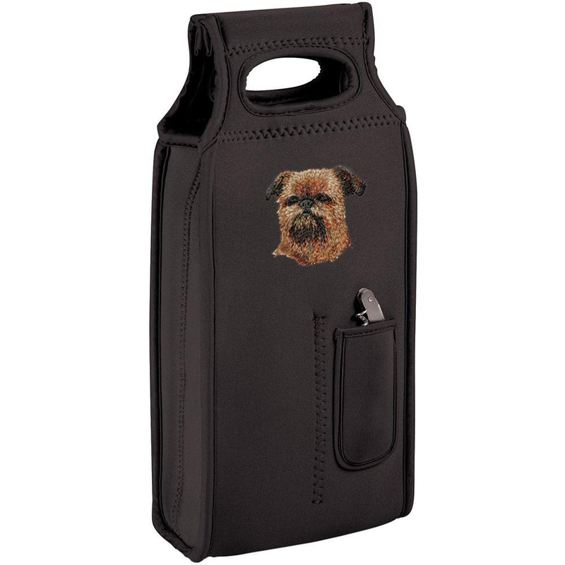 Embroidered Samba Wine Totes Black  Brussels Griffon DM453