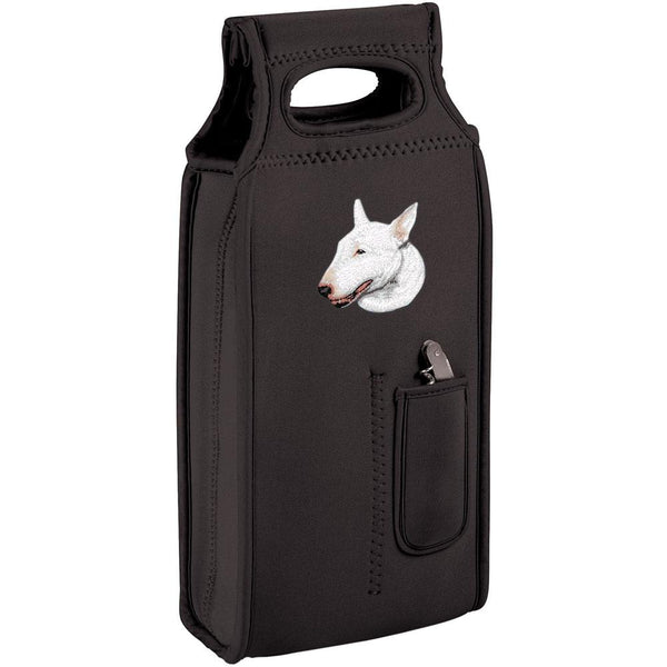 Embroidered Samba Wine Totes Black  Bull Terrier D88