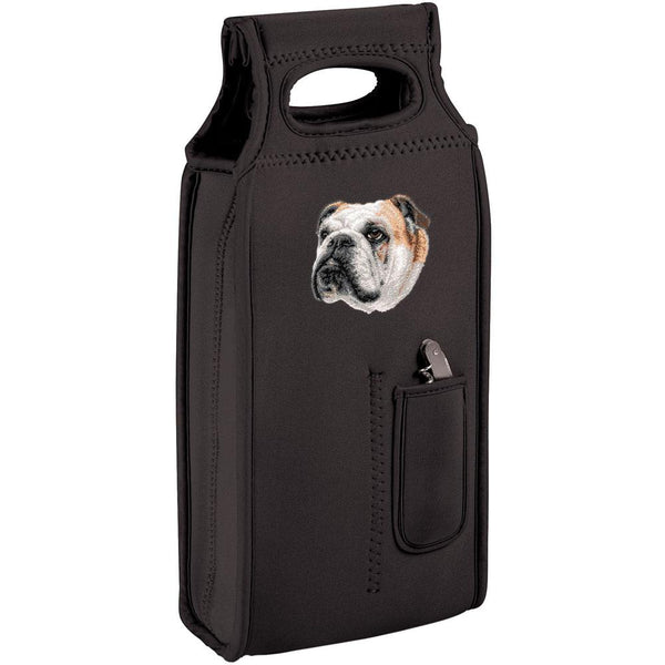 Embroidered Samba Wine Totes Black  Bulldog D59