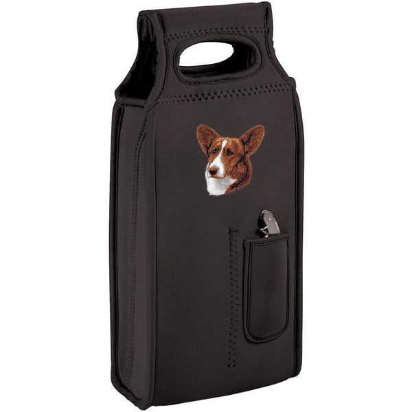 Embroidered Samba Wine Totes Black  Cardigan Welsh Corgi D12