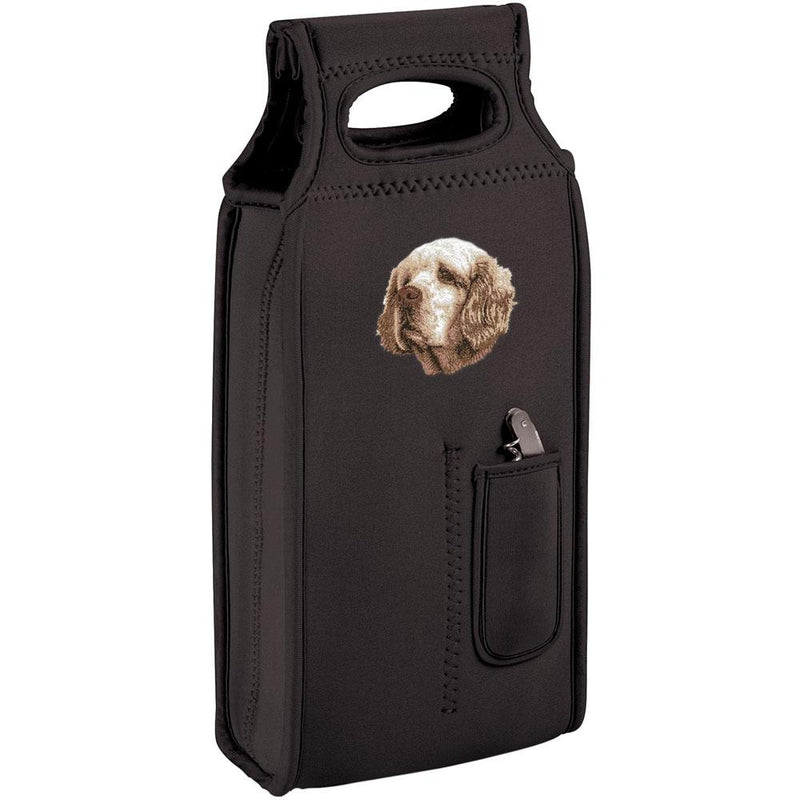 Embroidered Samba Wine Totes Black  Clumber Spaniel D46