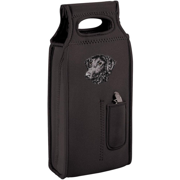 Embroidered Samba Wine Totes Black  Curly Coated Retriever D137