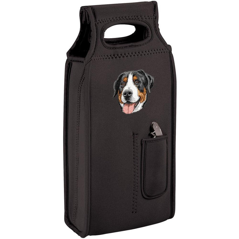 Embroidered Samba Wine Totes Black  Greater Swiss Mountain Dog DV379