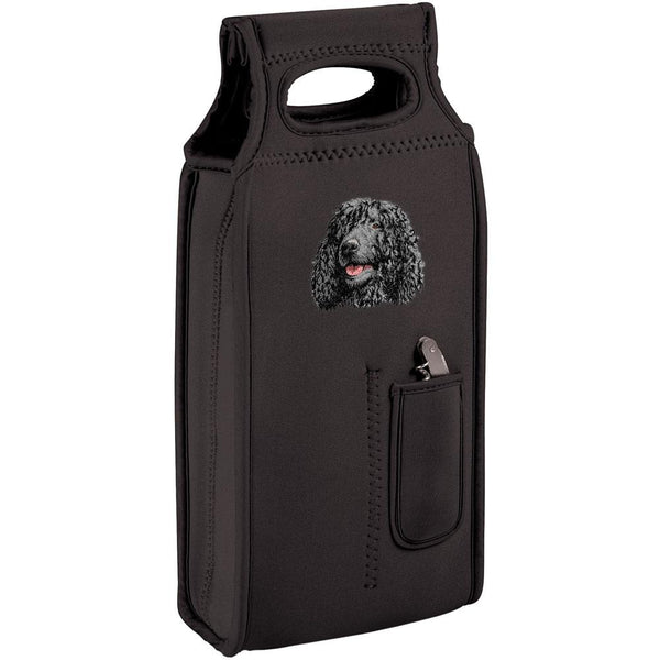 Embroidered Samba Wine Totes Black  Irish Water Spaniel D145