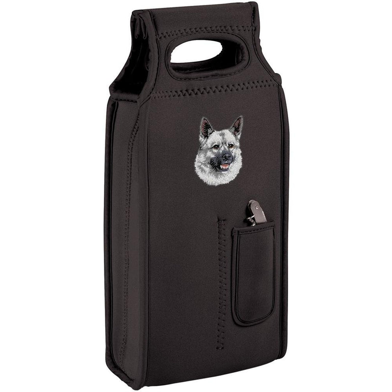 Embroidered Samba Wine Totes Black  Norwegian Elkhound D144