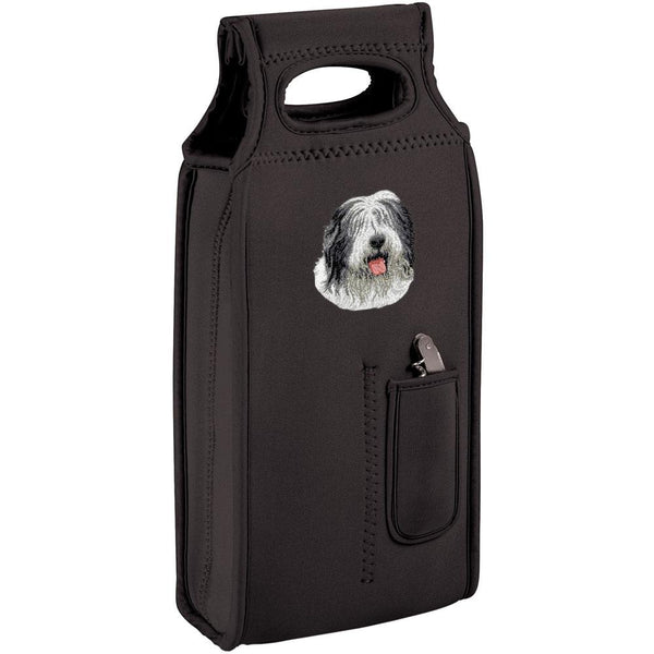 Embroidered Samba Wine Totes Black  Old English Sheepdog D40