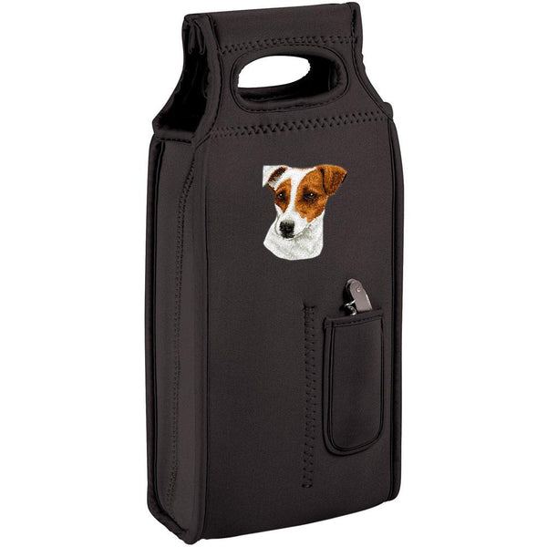 Embroidered Samba Wine Totes Black  Parson Russell Terrier D26