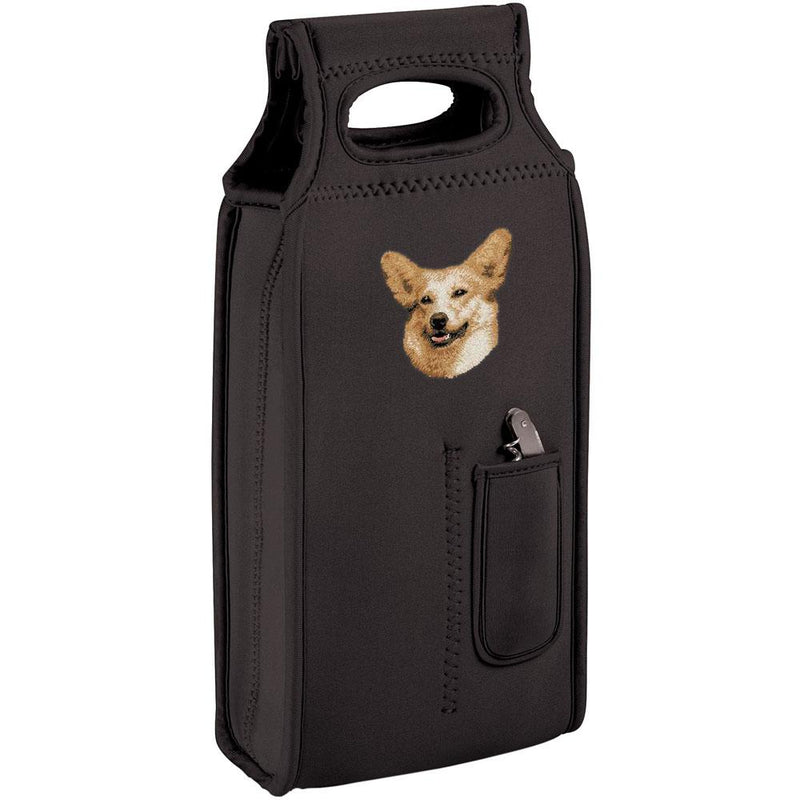 Embroidered Samba Wine Totes Black  Pembroke Welsh Corgi D34