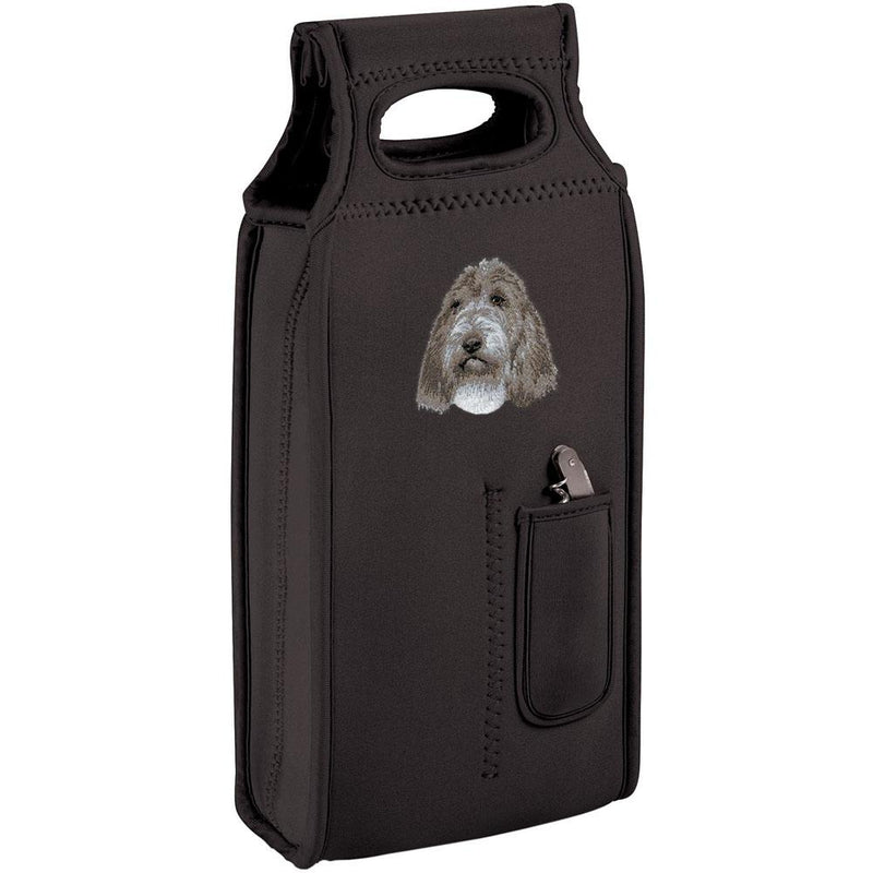 Embroidered Samba Wine Totes Black  Petit Basset Griffon Vendeen D104
