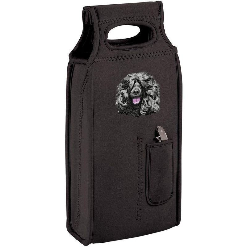 Embroidered Samba Wine Totes Black  Portuguese Water Dog DM452