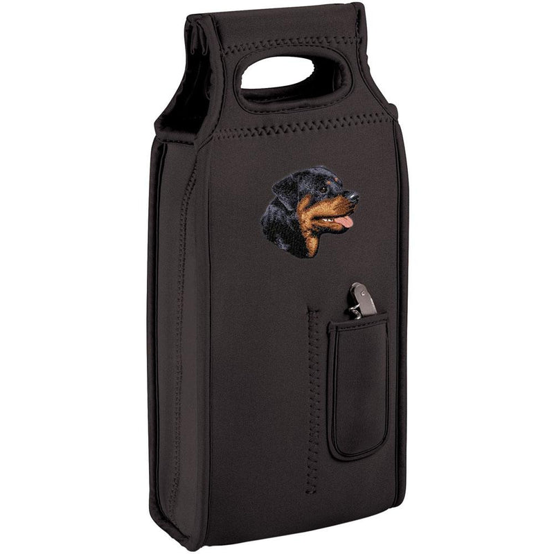 Embroidered Samba Wine Totes Black  Rottweiler D7