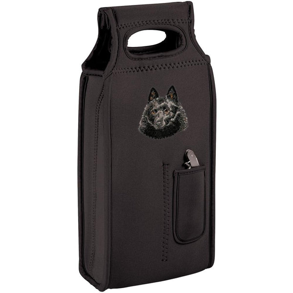 Embroidered Samba Wine Totes Black  Schipperke DN434