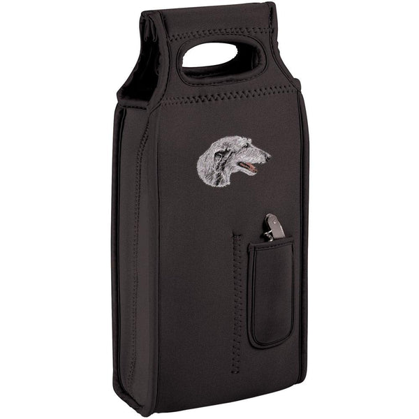 Embroidered Samba Wine Totes Black  Scottish Deerhound D52