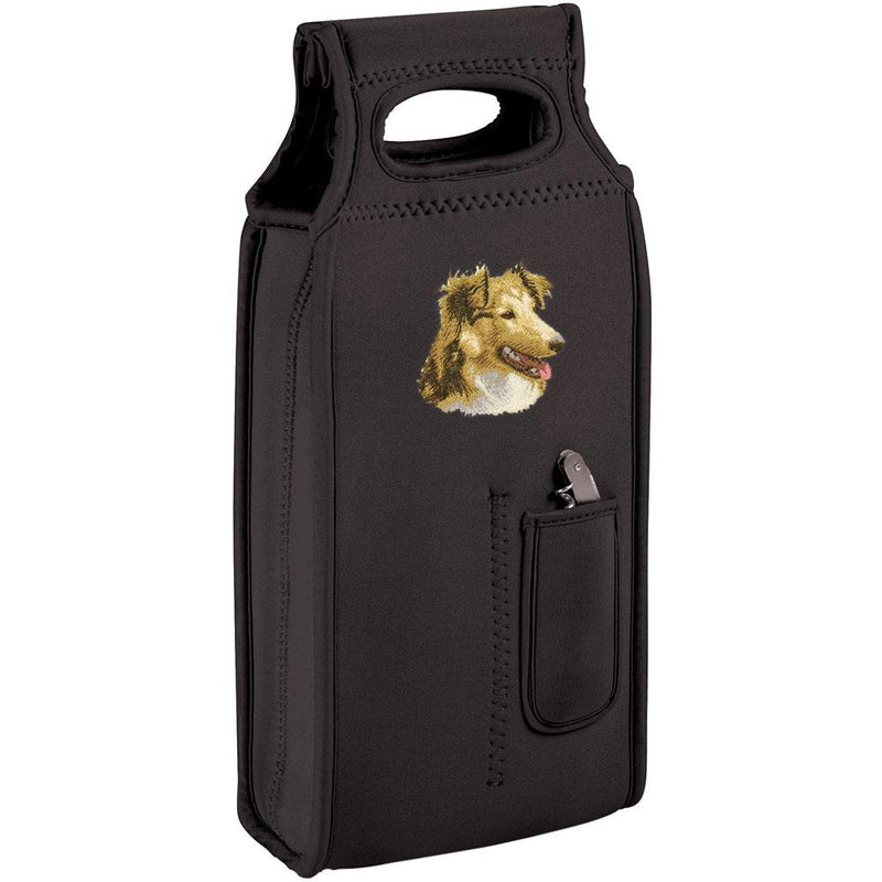 Embroidered Samba Wine Totes Black  Shetland Sheepdog D84
