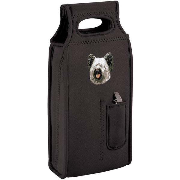 Embroidered Samba Wine Totes Black  Skye Terrier DN392