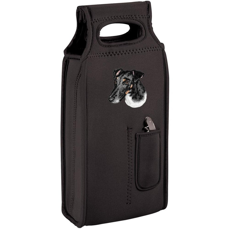 Embroidered Samba Wine Totes Black  Smooth Fox Terrier D134