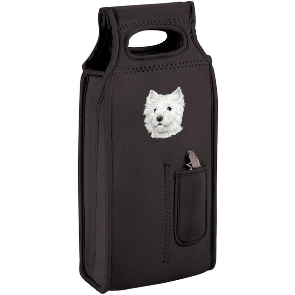 Embroidered Samba Wine Totes Black  West Highland White Terrier D126