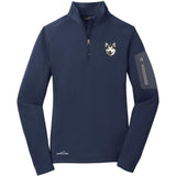 Embroidered Eddie Bauer Ladies Half Zip Performance Fleece Navy 2X-Large Alaskan Malamute D33
