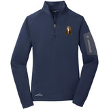 Embroidered Eddie Bauer Ladies Half Zip Performance Fleece Navy 2X-Large Basset Hound DJ229