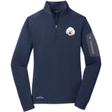 Embroidered Eddie Bauer Ladies Half Zip Performance Fleece Navy 2X-Large Bichon Frise D38