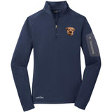 Embroidered Eddie Bauer Ladies Half Zip Performance Fleece Navy 2X-Large Border Terrier D51