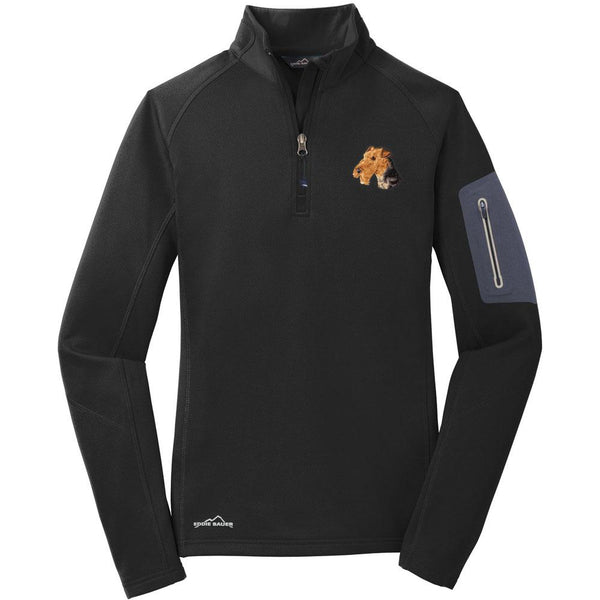 Embroidered Eddie Bauer Ladies Half Zip Performance Fleece Black 2X-Large Airedale Terrier D67
