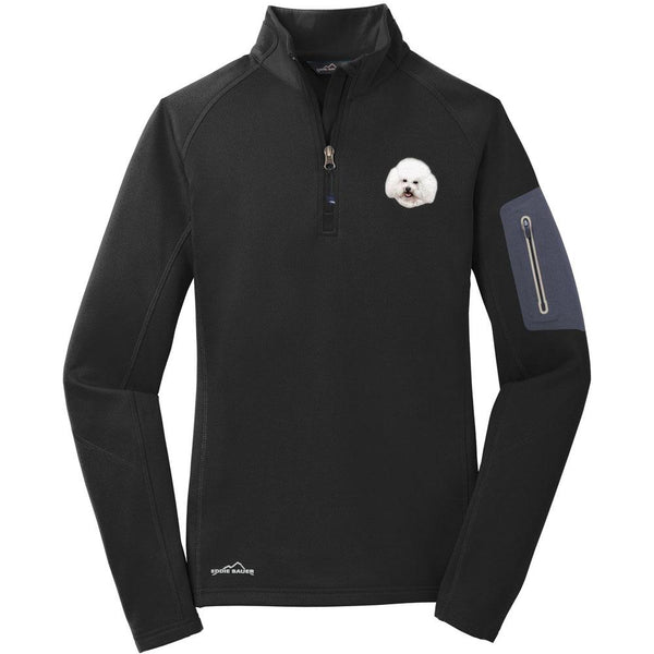 Embroidered Eddie Bauer Ladies Half Zip Performance Fleece Black 2X-Large Bichon Frise D38