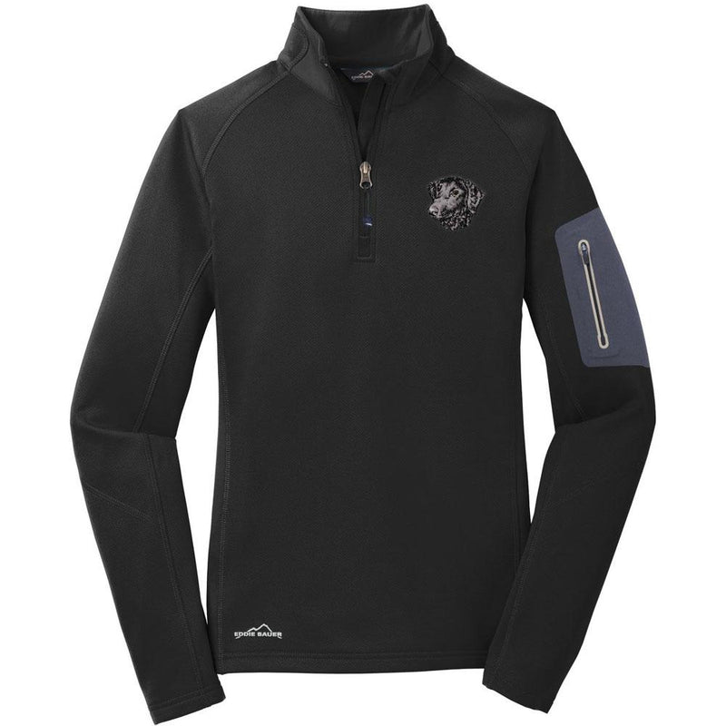 Embroidered Eddie Bauer Ladies Half Zip Performance Fleece Black 2X-Large Curly Coated Retriever D137