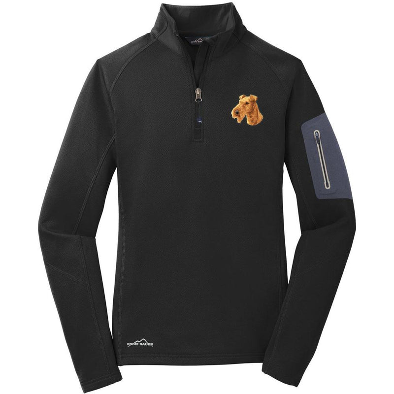 Embroidered Eddie Bauer Ladies Half Zip Performance Fleece Black 2X-Large Irish Terrier D89