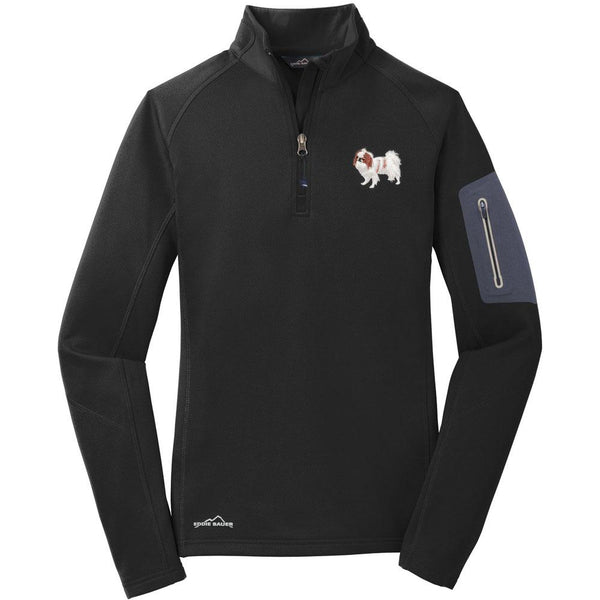 Embroidered Eddie Bauer Ladies Half Zip Performance Fleece Black 2X-Large Japanese Chin DV213