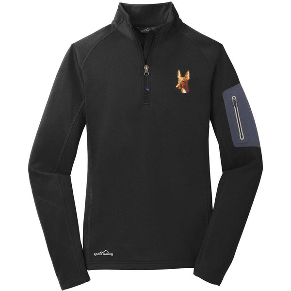 Embroidered Eddie Bauer Ladies Half Zip Performance Fleece Black 2X-Large Pharaoh Hound D90