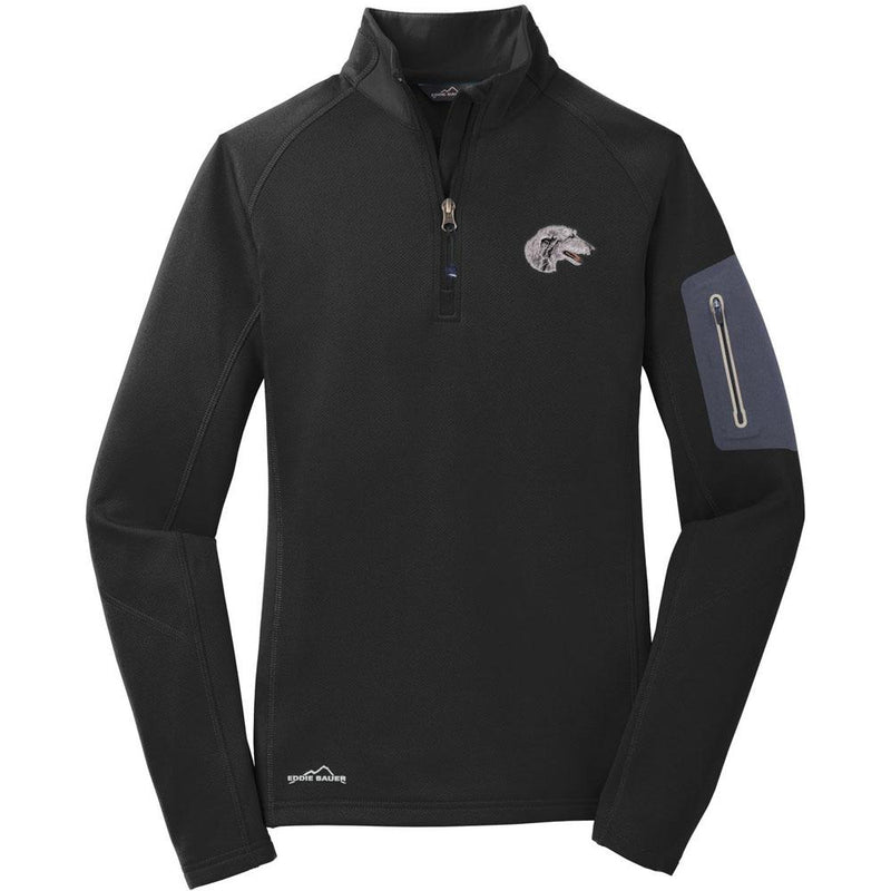 Embroidered Eddie Bauer Ladies Half Zip Performance Fleece Black 2X-Large Scottish Deerhound D52