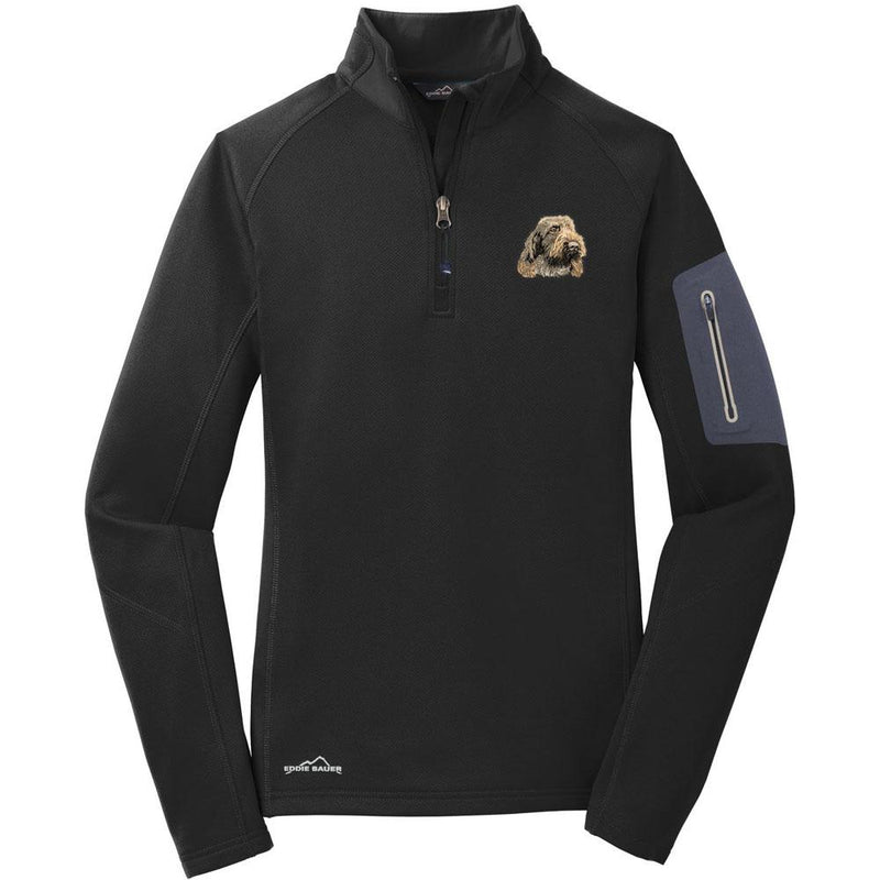 Embroidered Eddie Bauer Ladies Half Zip Performance Fleece Black 2X-Large Spinone Italiano DV249