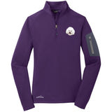 Embroidered Eddie Bauer Ladies Half Zip Performance Fleece Cobalt Blue 2X-Large Bichon Frise D38
